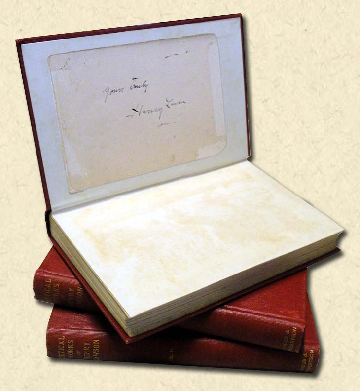 LAWSON, HENRY - Poetical Works - Three Volumes, signed