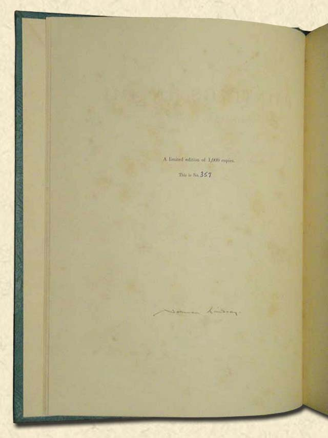 LINDSAY, NORMAN (DOUGLAS STEWART, ED.) - Paintings in Oil  Fourteen reproductions in colour from original oil paintings, and 16 half-tone plates reproduced in black and white; with essays by Douglas Stewart and Norman Lindsay.