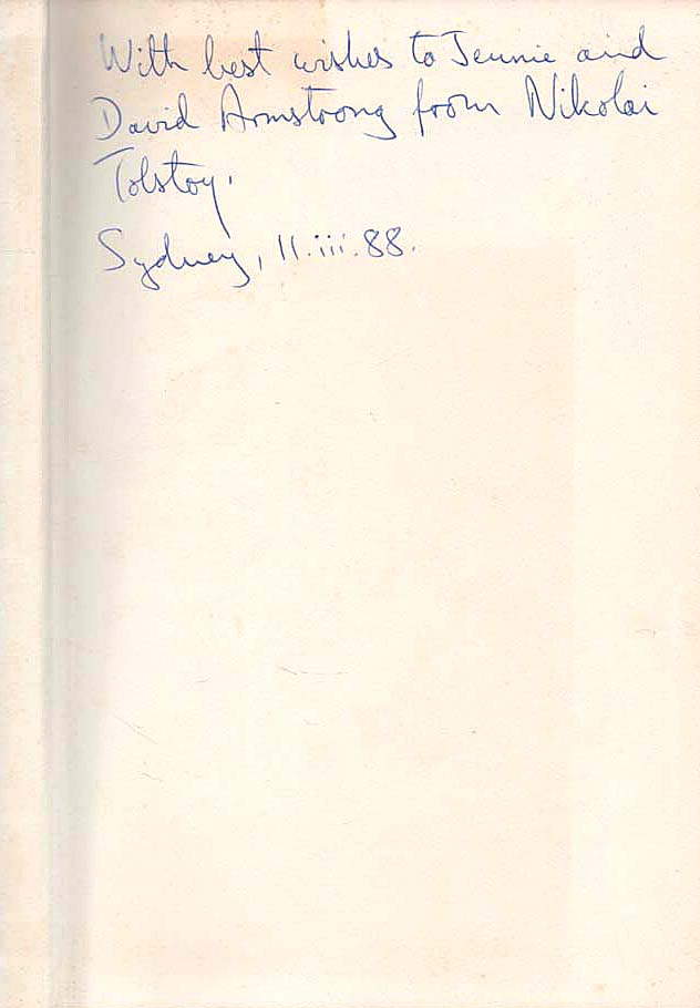 TOLSTOY, NIKOLAI - The Minister and the Massacres - signed